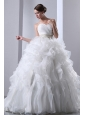 Wonderful A-line Sweetheart Beading and Ruffles Wedding Dress Chapel Train Taffeta and Organza