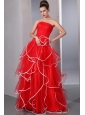 2013 Red Strapless Ruffled Prom Dress with   white hem