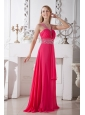 Affordable Sexy Coral Red V-neck Chiffon Prom Dress Brush Train