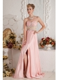 Baby Pink Empire Sweetheart Chiffon Beading Prom Dress Brush Train