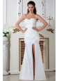 Beautiful Column Sweetheart Ruch Wedding Dress Floor-length Taffeta