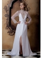 Beautiful Empire High-neck Beading Wedding Dress Court Train Chiffon