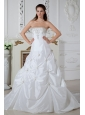 Brand New Wedding Dress A-line Strapless Appliques Court Train Taffeta
