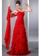 Bright Red One Shoulder Watteau Train Prom Dress with Many Ruffles