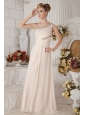 Champagne Empire One Shoulder Floor-length Chiffon Beading and Ruch Prom Dress