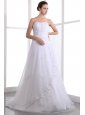 Classical A-line Strapless Beading Wedding Dress Brush Train Taffeta and Organza
