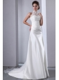 Elegant A-line High-neck Court Train Taffeta and Organza