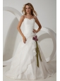 Elegant A-line Straps Wedding Dress Hand Made Flowers Brush Train Organza
