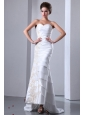 Elegant Column Sweetheart Ruffled Layers and Appliques Wedding Dress Brush Train Taffeta