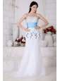 Elegant White Sweetheart Prom / Evening Dress with Muti-Color Beading and Light Blue Belt