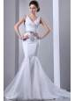 Fashionbale Mermaid Wedding Dress V-neck Bow Court Train Satin and Organza