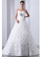 Fashionbale Wedding Dress A-line Sweetheart Hand Made Flower and Beading Brush Train Fabric With Rolling Flowers