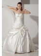 Formal A-line Sweetheart Wedding Dresd Taffeta Beading and Hand Made Flowers Chapel Train