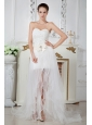 Gorgeous White Sweetheart Prom Dress with Light Champagne Belt