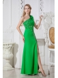 Green One Shoulder Hand Made Flowers Cut out Prom Dress Floor-length Elastic Wove Satin