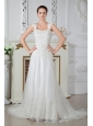 Low Price Empire Straps Appliques and Lace Wedding Dress Court Train Tulle