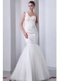 Modest Mermaid One Shoulder Appliques Wedding Dress Brush Train Tulle and Taffeta