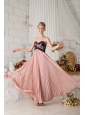 Peach Chiffon Pleated Prom Dress Covered with Black Lace