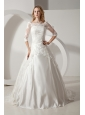 Perfect A-line Bateau Wedding Dress Chapel Train Taffeta and Lace