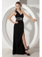 Perfect Black One Shoulder Chiffon Prom Dress with Silver Beading