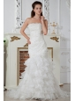 Popular Column Strapless Ruch and Appliques Wedding Dress Court Train Organza