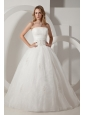 Pretty Ivory Embroidery Wedding Dress Strapless Floor-length Taffeta and Organza