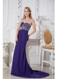 Purple Color Sweetheart Prom Dress with Elegant Beading