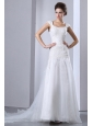 Romantic A-line Square Appliques Wedding Dress Chapel Train Taffeta and Organza