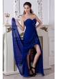 Royal Blue Sweetheart Chiffon Prom Dress Short Inside Long Outside