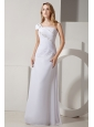 Simple Column One Shoulder Wedding Dress Chiffon Ruch and Beading  Floor-length