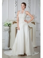 Sweet Column Halter Appliques Wedding Dress Court Train Satin