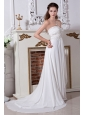 The Brand New Empire Strapless Embroidery With Beading Wedding Dress Court Train Chiffon