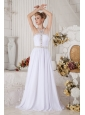 Unique White Halter top Chiffon Prom Dress with Beading
