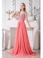 Watermelon Red Spaghetti Straps Chiffon Prom Dress Brush Train Homecoming Gown