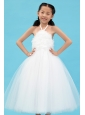 White A-line Halter Flower Girl Dress Ankle-length Tulle Appliques