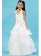 White A-line Halter Flower Girl Dress Organza Ruch and Hand Made Flowers Floor-length