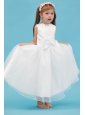 White A-line Scoop Flower Girl Dress Ankle-length Organza Sash