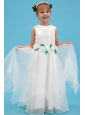 White A-line Scoop Flower Girl Dress Organza Hand Made Flowers Floor-length