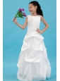White A-line Scoop Flower Girl Dress Taffeta Appliques Floor-length