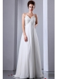 White Empire Spaghetti Straps Floor-length Chiffon Appliques With Beading wedding Dress