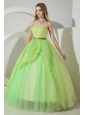 Light  Green Sweet 16 Dress Beading and Embroidery A-line / Princess Strapless Floor-length Organza