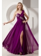 Fuchsia One Shoulder Chiffon Bandage style Prom Dress