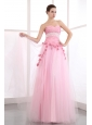 Pink Sweetheart Taffeta and Tulle Prom Dress with Appliques