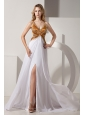 White and Gold V-neck Prom / Evening Dress Coset Back Satin and Chiffon