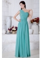 Turquoise Empire One Shoulder Prom Dress Chiffon Appliques Floor-length