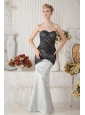 Black and Ivory Mermaid Sweetheart Ruch Prom Dress Floor-length Satin
