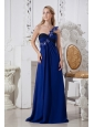 Blue Column One Shoulder Prom Dress Hand Made Flowers Floor-length Chiffon