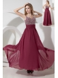 Empire Straps Beading Prom Dress Ankle-length Chiffon