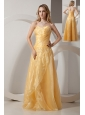Gold Column Sweetheart  Embroidery With Beading Prom Dress Floor-length Taffeta and Organza