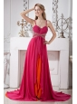 Hot Pink Chiffon Spaghetti Straps Prom Dress Empire Brush Train Beading